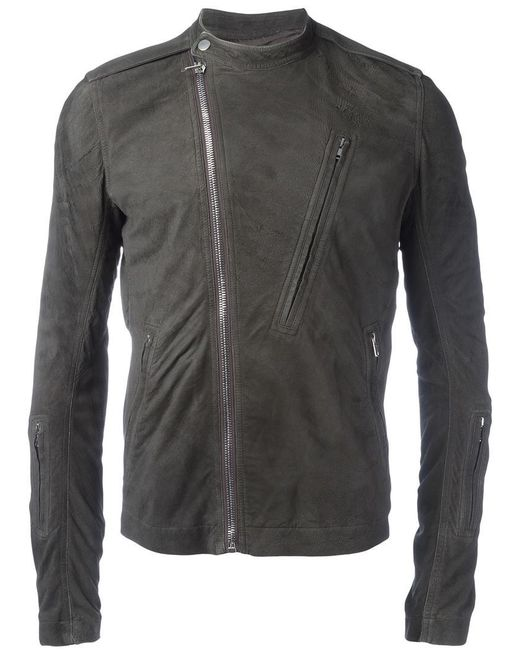 Rick Owens | Gray Band Collar Biker Jacket for Men | Lyst