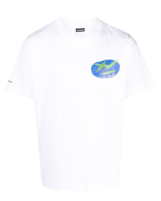 Camiseta con estampado Le t-shirt Haricots Jacquemus de hombre de color White