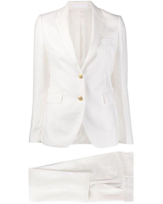 Tagliatore White Slim-fit Pant Suit