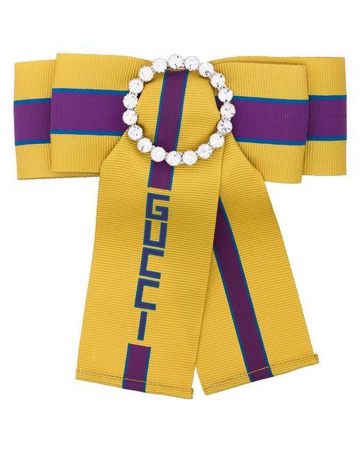 Gucci | Multicolor Crystal Bow Slogan Brooch | Lyst
