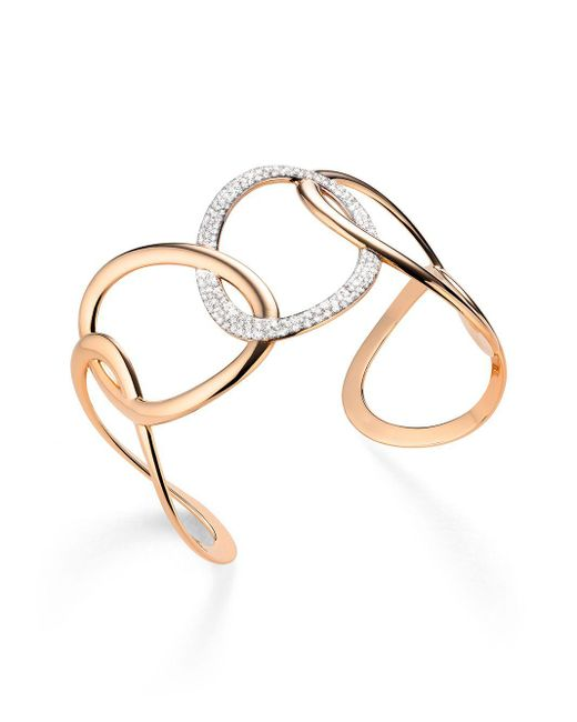 Mattioli Pink 18kt Rose Gold Link Diamond Cuff