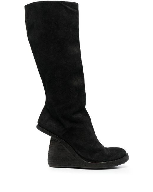 Guidi Black Asymmetric-heel Knee Boots