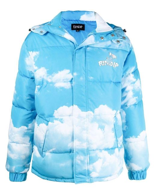 RIPNDIP Blue 'heaven And Hell' Clouds-print Padded Jacket for men