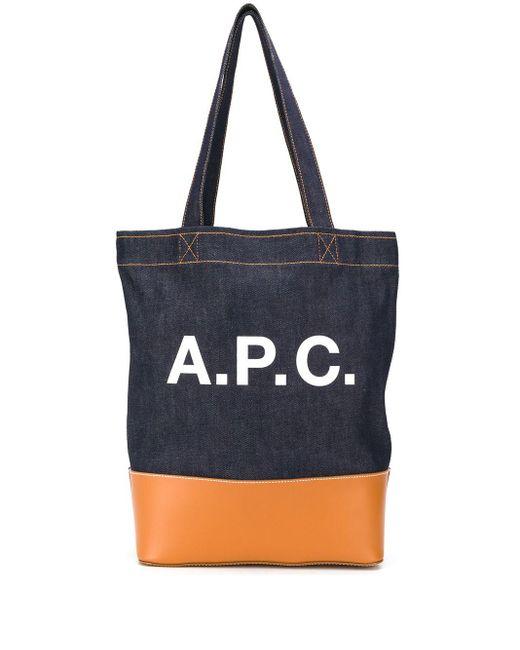 メンズ A.P.C. デニム ロゴ トートバッグ Blue