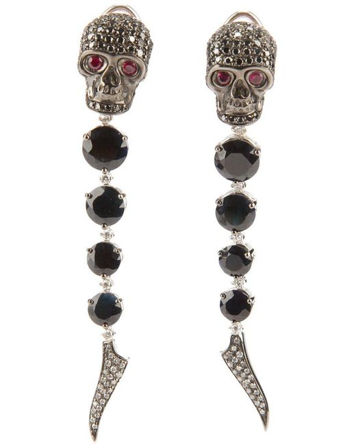 Gavello - Black Sapphire, Diamond And Ruby Skull Head Earrings - Lyst