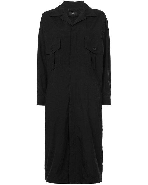 Y's Yohji Yamamoto | Black Oversized High Collar Coat | Lyst
