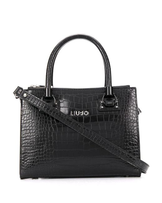 Liu Jo クロコパターン ハンドバッグ Black