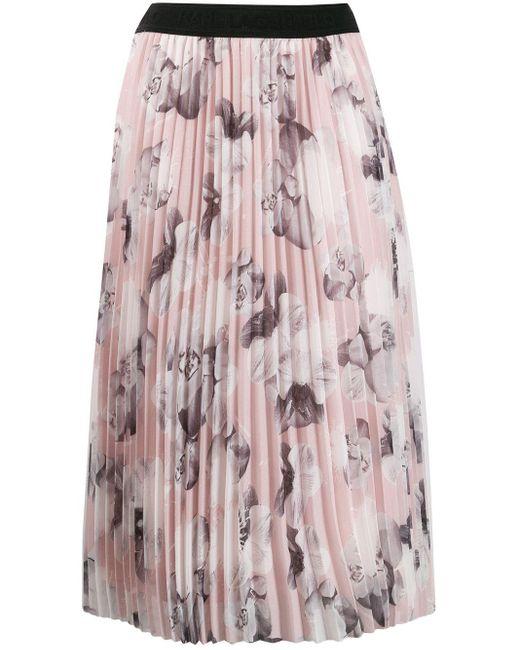 Gonna a fiori di Karl Lagerfeld in Pink