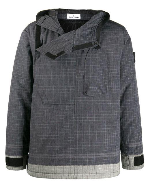 Клетчатая Куртка С Капюшоном Stone Island для него, цвет: Black