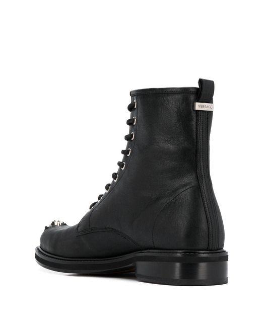 メンズ Versace レザーブーツ Black
