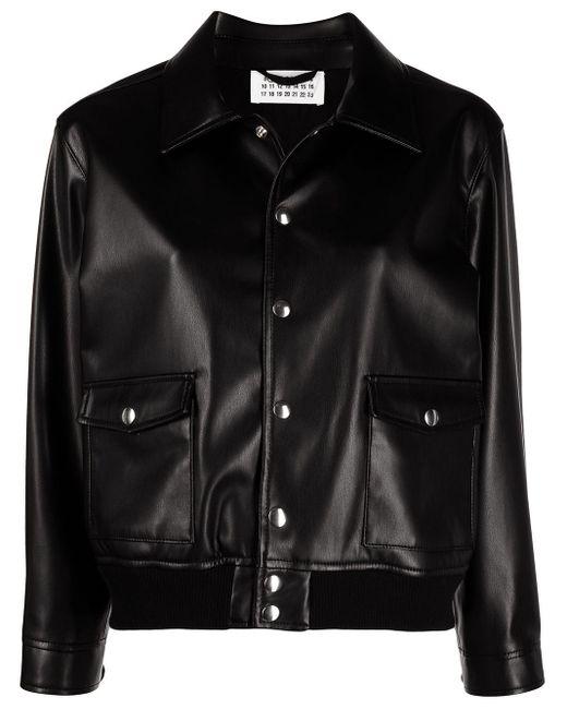Однобортная Куртка Из Искусственной Кожи Maison Margiela, цвет: Black