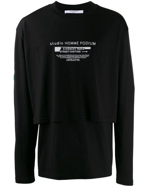 メンズ Givenchy ダブルスリーブ Tシャツ Black