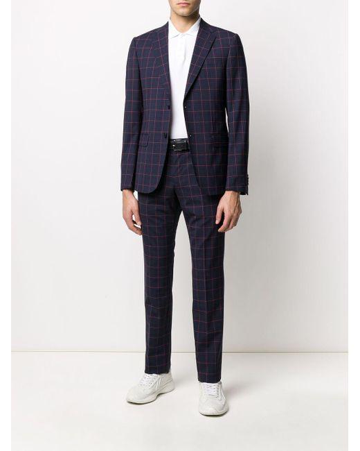 メンズ Z Zegna チェック ツーピース スーツ Blue