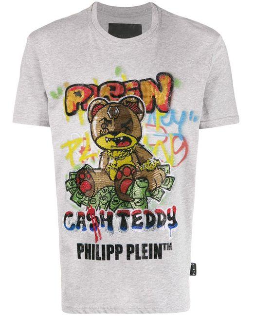 メンズ Philipp Plein テディベア Tシャツ Gray