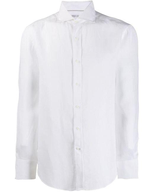 メンズ Brunello Cucinelli ロングスリーブ シャツ White