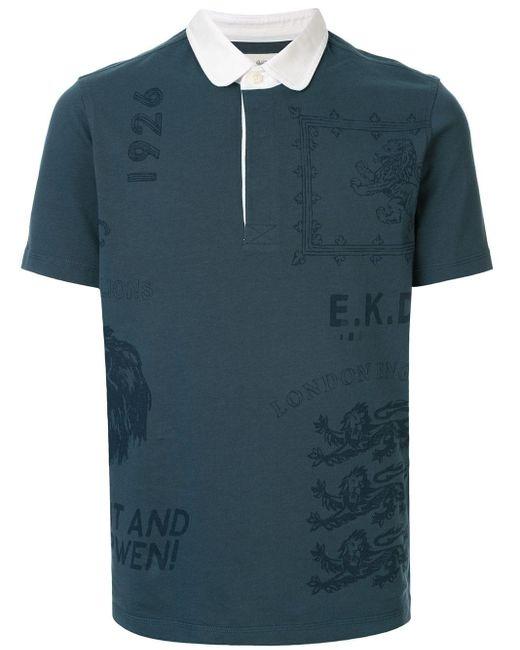 メンズ Kent & Curwen プリント ポロシャツ Blue