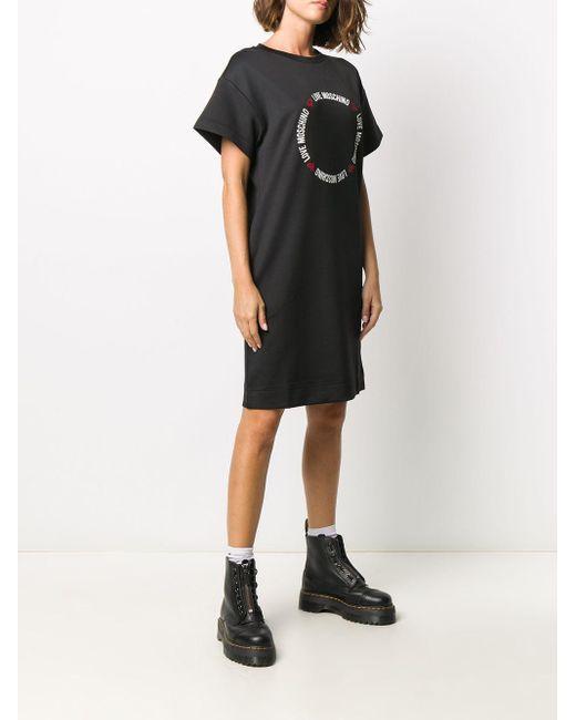 Love Moschino ハートプリント Tシャツドレス Black