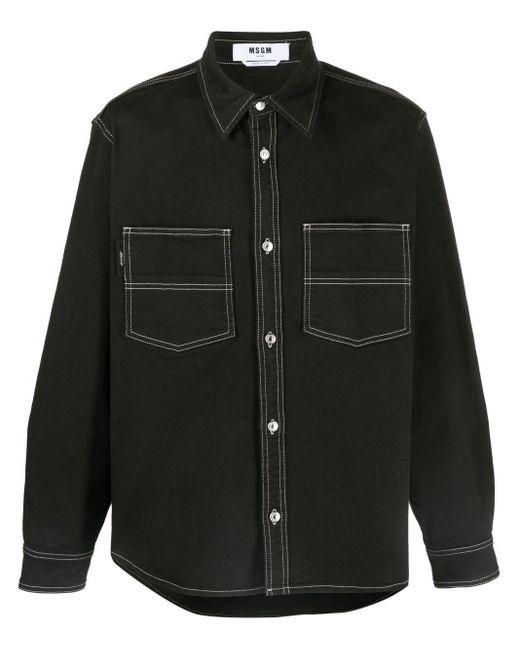 Giacca-camicia con stampa di MSGM in Black da Uomo