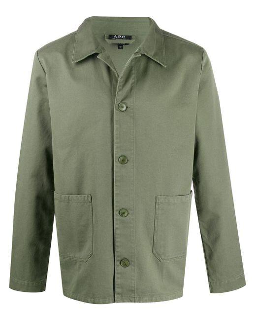メンズ A.P.C. シャツジャケット Green