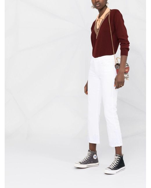 7 For All Mankind フローラル クロップドジーンズ White