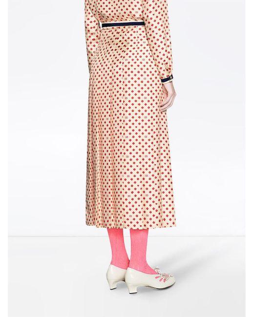 Юбка С Узором GG И Изображением Клеверов И Сердец Gucci, цвет: Multicolor