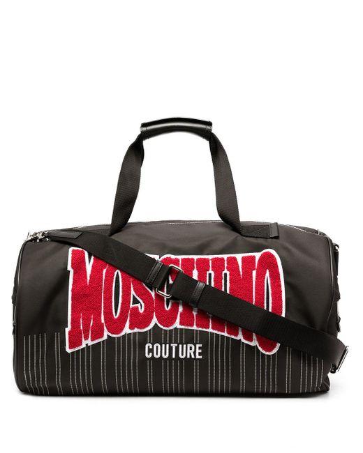メンズ Moschino ロゴ ボストンバッグ Black