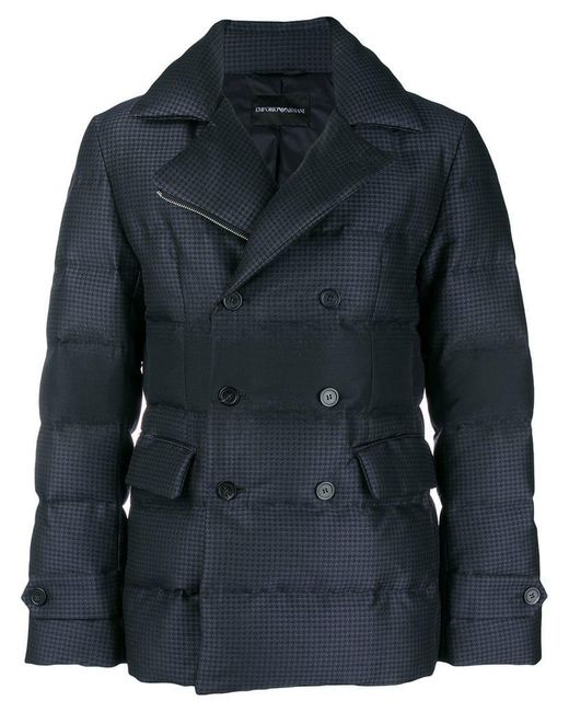 Emporio Armani - Blue Padded Biker Jacket for Men - Lyst