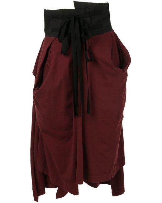 Falda de tejido jersey con talle alto Aganovich de color Red