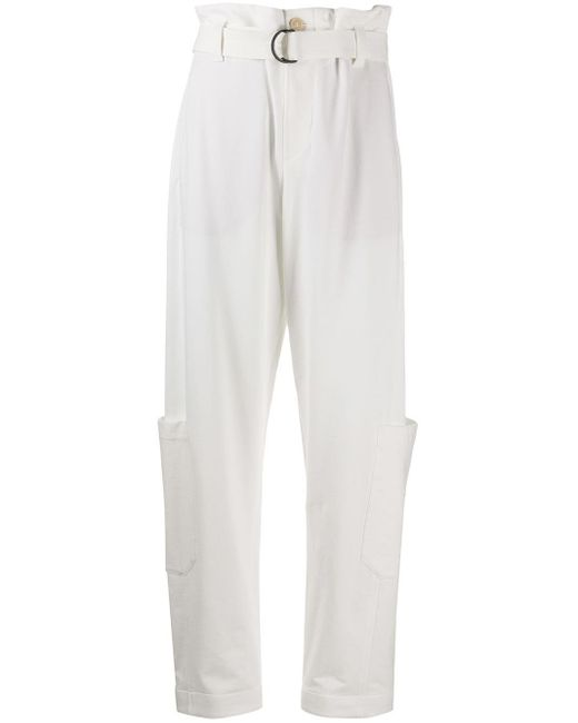 Брюки Свободного Кроя С Поясом Brunello Cucinelli, цвет: White
