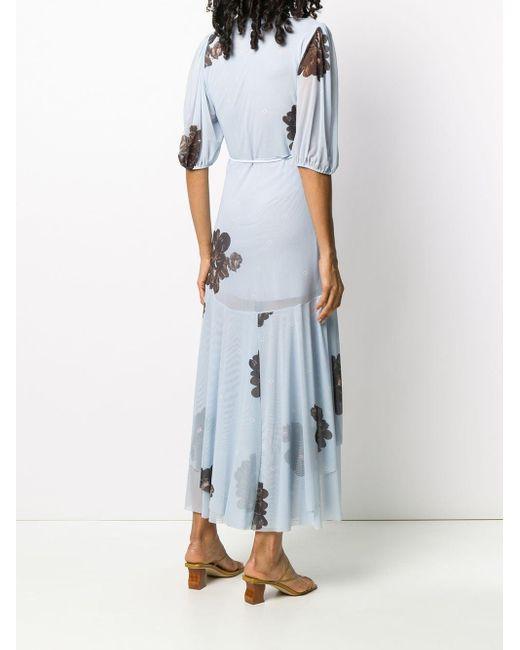 Ganni フローラル ラップドレス Blue
