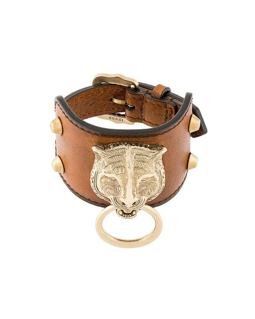 Gucci - Brown Leather Bracelet With Feline Head for Men - Lyst