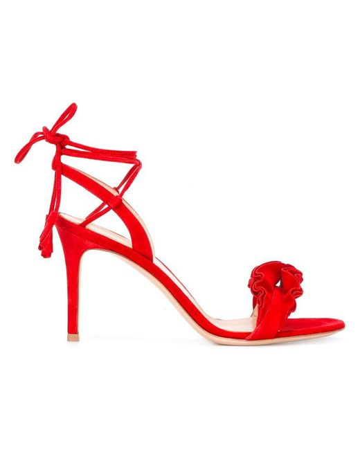 Gianvito Rossi | Red Flora Frill Sandals | Lyst