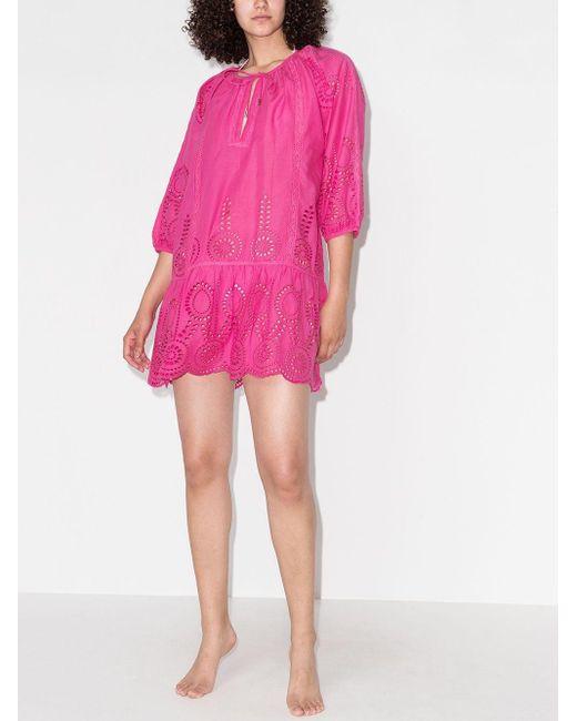 Melissa Odabash アイレットレース リゾートワンピース Pink