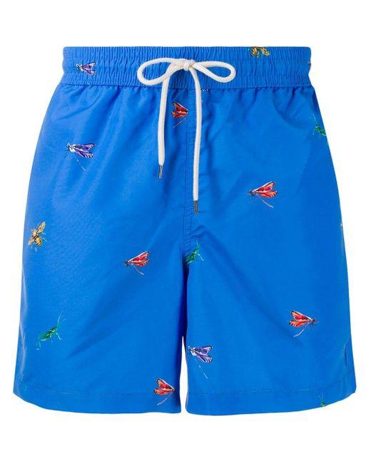 メンズ Polo Ralph Lauren プリント トランクス水着 Blue