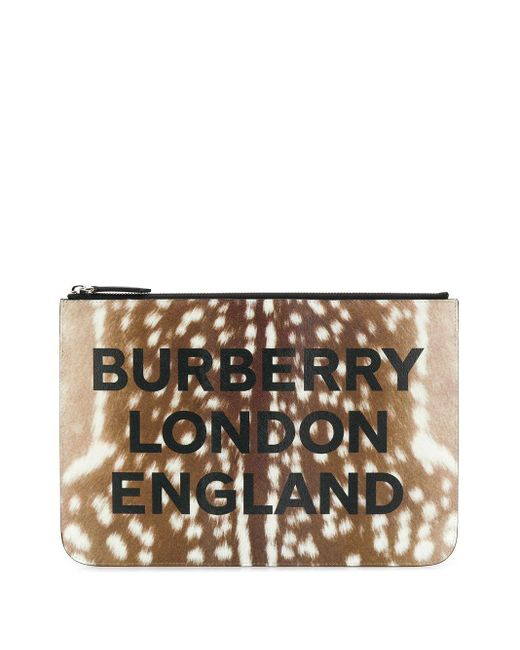 Burberry プリント クラッチバッグ Brown
