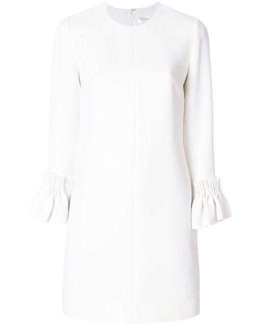 Victoria, Victoria Beckham - White Ruffled Cuff Long-sleeved Dress - Lyst