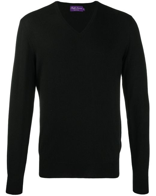 Ralph Lauren Purple Label Kaschmirpullover mit V-Ausschnitt in Black für Herren