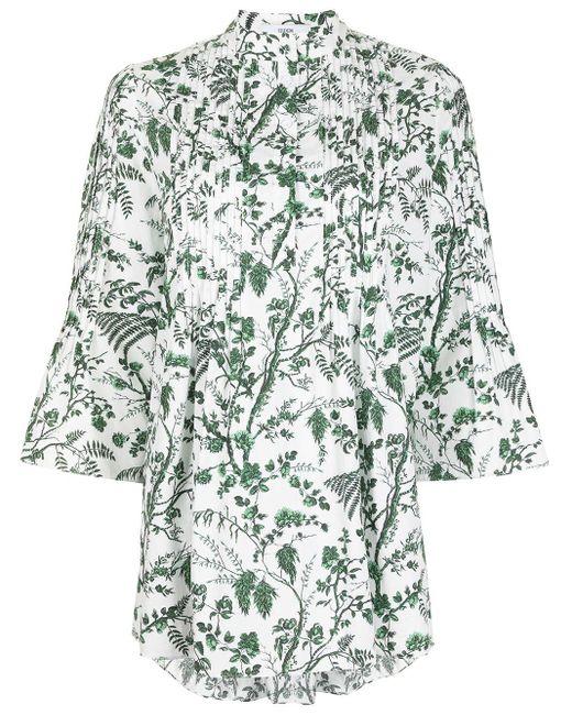 Erdem White Wild Fern Botanical-print Long-sleeve Top