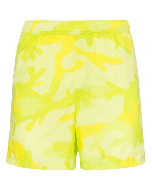 Valentino Green Camouflage-print Swim Shorts for men