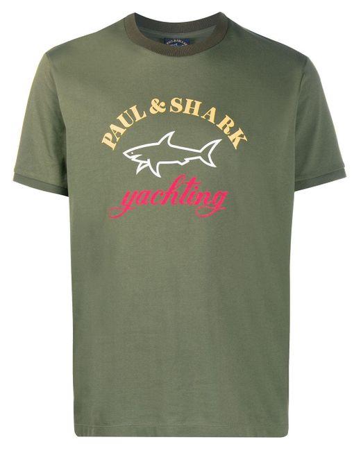 メンズ Paul & Shark ロゴ Tシャツ Green
