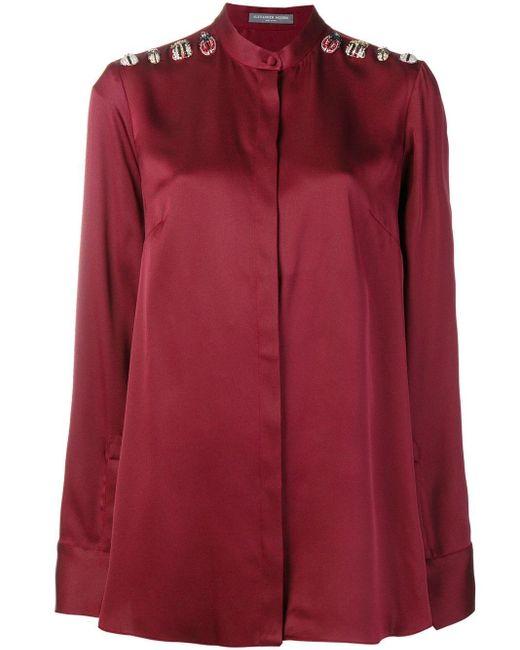 Blusa con aplique de insectos Alexander McQueen de color Red