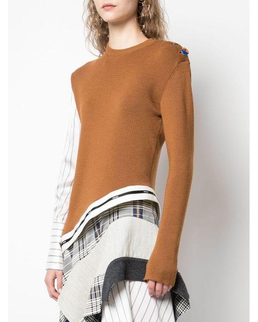 Pull à design asymétrique et patchwork Monse en coloris Brown