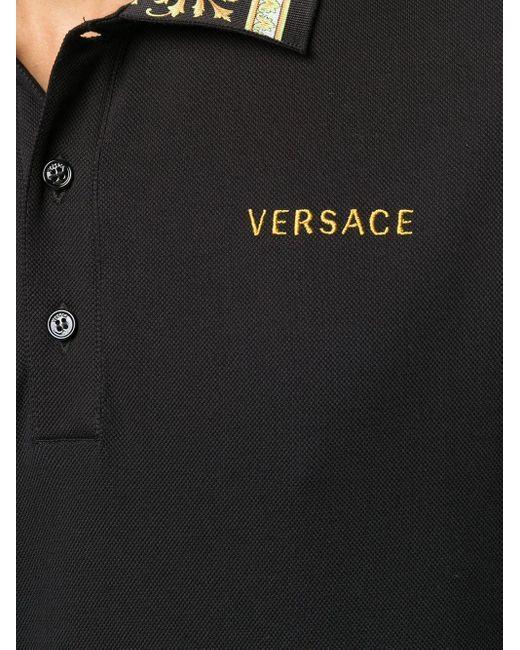 Рубашка-поло С Узором Barocco Versace для него, цвет: Black