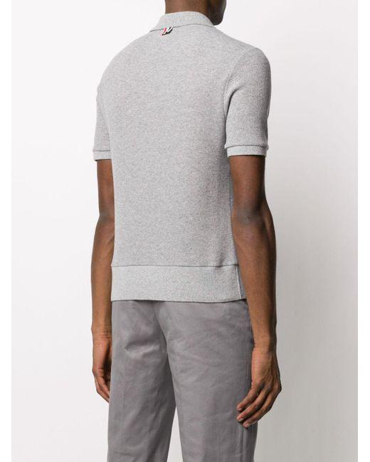 メンズ Thom Browne カシミア ポロシャツ Gray