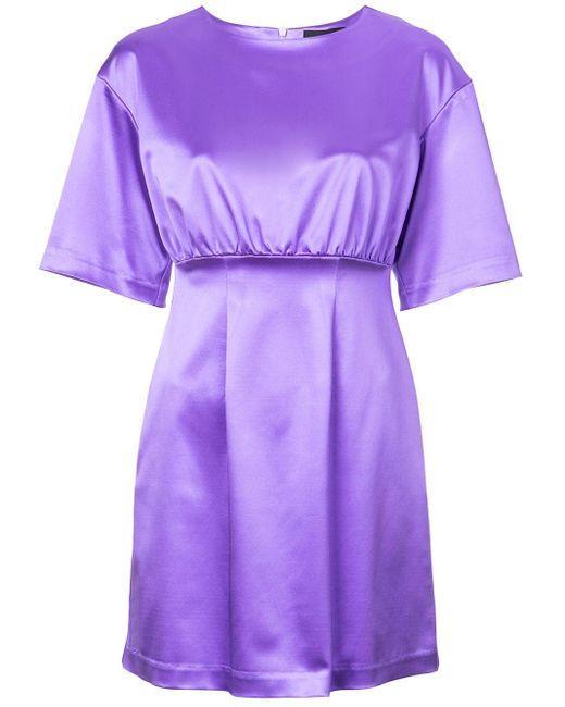 Cynthia Rowley Rush サテン ミディドレス Purple