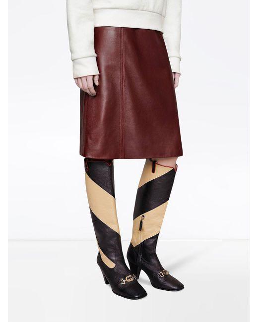 Gucci グッチ ズゥミ ストライプ ロングブーツ Multicolor