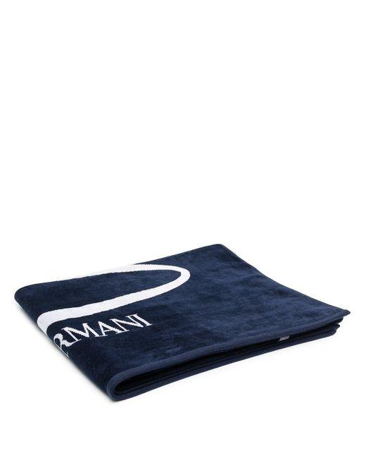 Emporio Armani ロゴ ビーチタオル Blue