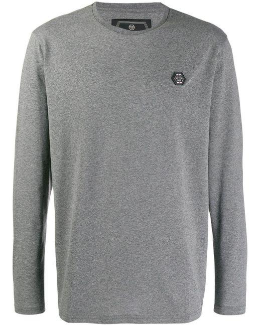 メンズ Philipp Plein ロゴ ロングtシャツ Gray