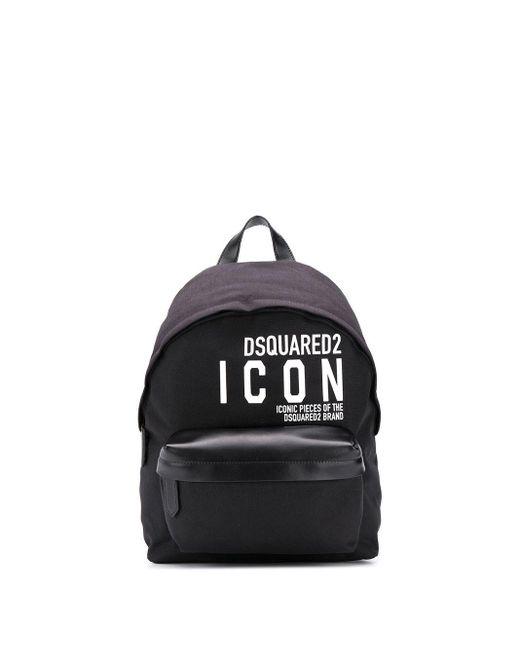 メンズ DSquared² ブラック Icon バックパック Black