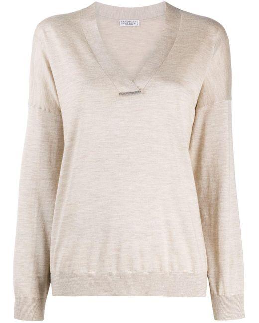 Brunello Cucinelli Multicolor V-neck Sweater